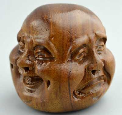 Old Collectable Handwork Boxwood Carve Happy Angry Sad Joyous Buddha Rare Statue