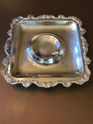 """Vintage EPCA Old English Silverplate By Poole 5039 Square Serving Tray 15""""  A26"""