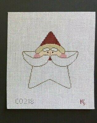Kathy Schenkel Hand-painted Needlepoint Canvas Santa Star Ornament