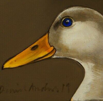 DUCK PORTRAIT : ORIGINAL OIL PAINTING : Poultry Geese Bird Art by David Andrews