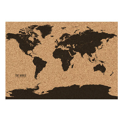"Corkboard World Map Earth Cork Board 22.8"" x 32.2"" Pins Rolled in Tube"