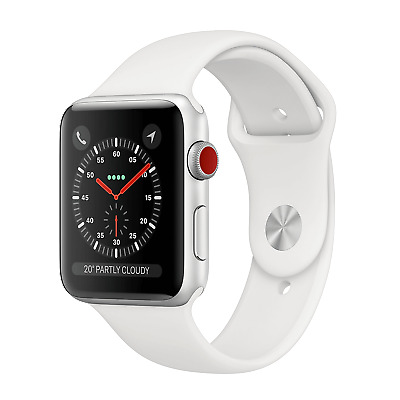 Apple Watch Series 3 42mm Silver Aluminum Cellular  - White Band  MTF02LL/A