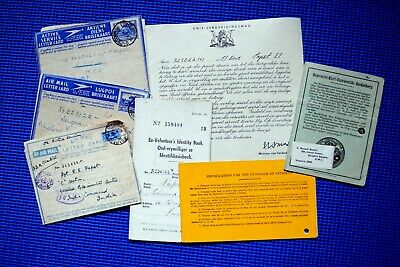 South Africa, WWII. Letters, identity cards, official certificate of thanks etc.