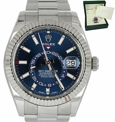 2019 ROLEX SKY,DWELLER Stainless White Gold BLUE DIAL 326934 42mm Steel  Watch