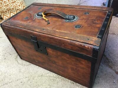 "Beautifully Restored Antique Chest Trunk w/key - size 19"" long x 11"" wide x 12""H"