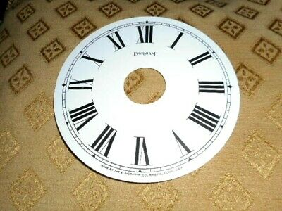 "For American Clocks-Ingraham Paper Clock Dial- 5"" M/T-Centre Hole 1 1/4""-Spares"