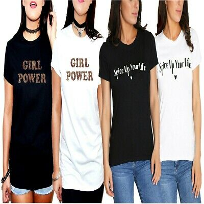 Spice Up Your Life Printed Slogan T-Shirt Top Girls World Tour Girl Power 8-26
