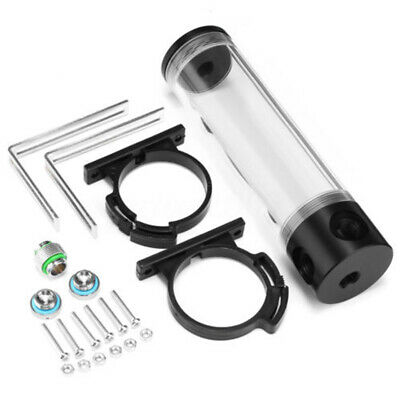 Black + Clear Cylinder Reservoir Water Tank PC Computer Cooling Radiator Acrylic