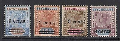 Seychelles 1901 surcharged set, Mounted mint (SG#37/40)