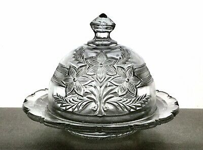 EAPG Antique Indiana Glass No. 162 NARCISSUS SPRAY Butter Dish with Lid BOUQUET