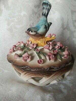 Vintage Dresden Covered Basket Weave Candy Dish w/Bird OUTSTANDING Condition