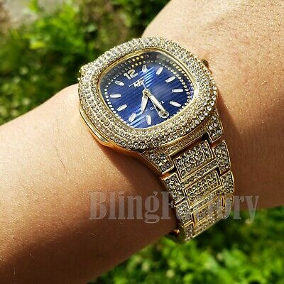 Hip Hop Bling Gold plated Lab Diamond Iced out Blue Dial Luxury Metal Band Watch