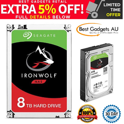 Seagate 8TB IronWolf NAS SATA 6Gb/s NCQ 256MB Cache Internal Hard Drive 3.5 Inch