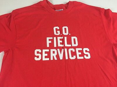 GO Field Services T-Shirt VTG Adult SZ M/L Tall Red Hanes USA Made Mens Womens