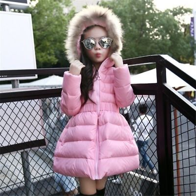 Parka Fur Duck Coat Tutu Outwear Winter Kids Down Jacket Hooded Light Warm Girls