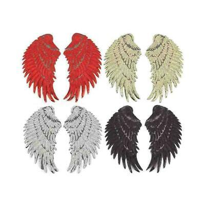 1Pair Wings Feather Applique Sequins Embroidered Iron on Patches Clothes De L8M1