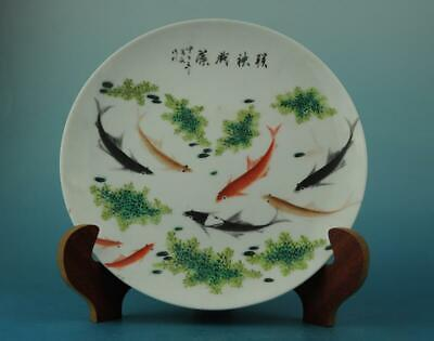 Chinese old hand-made famille rose porcelain Hand painte fish pattern plate b01