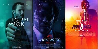 John Wick Chapter 1 2 3 Trilogy Movie Poster Set - Keanu Reeves - 11x17 13x19