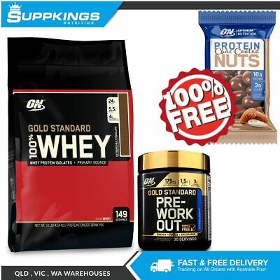 Optimum Nutrition Gold Standard Whey 10Lb + Gs Pre Workout 30 Serve + Free Nuts