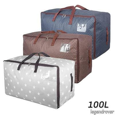 2X 100L Foldable Suitcase Travel Bag Luggage Carry-On Clothes Storage Organizer