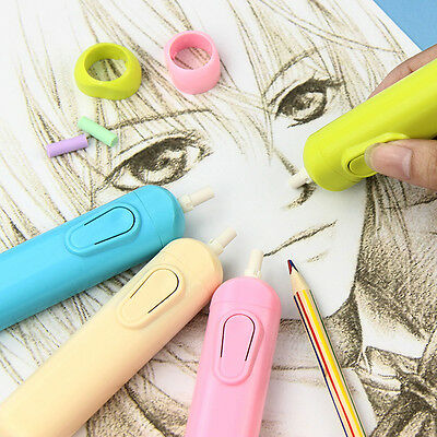 4 Colors Electric Eraser Kit Automatic School Supplies Stationery 20 RefillsChic
