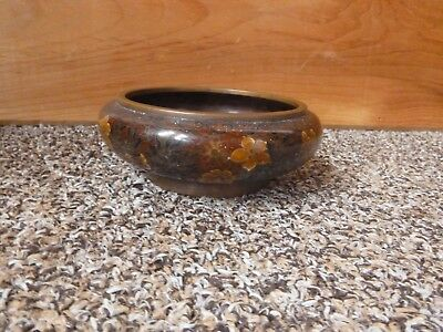 Vintage Copper Painted Enamel Trinket Bowl Very Heavy Piece Green With Flowers