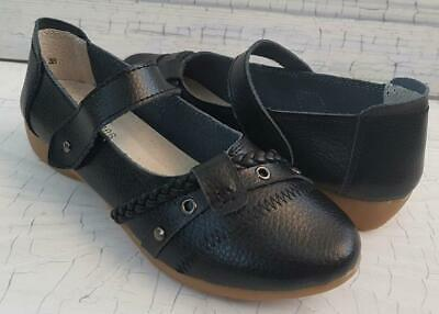 Auyi FULL LEATHER Mary Jane WALKER Strap SOFT Flexi COMFY BLACK Work Shoes