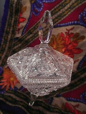 "VTG CUT CRYSTAL GLASS THREE FOOTED LARGE CANDY DISH w/ LID--8"" X 6 1/4"""