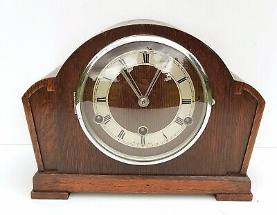 Art Deco British Anvil Oak Westminster Chiming Mantle Clock