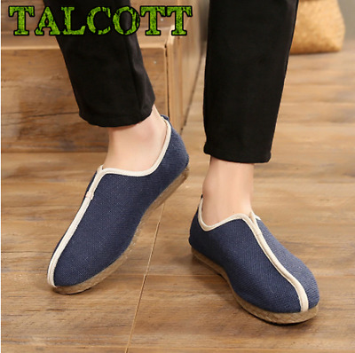 Men Shoes Hemp Upper Canvas Slip On Men Casual Shoes New 2018 Breathable Male Fo