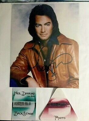 NEIL DIAMOND Signed autographed Framed 8x10 In photo + 2 VIP Backstage Pass COA