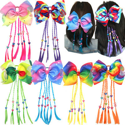 8 inch Rainbow Big Hair Bows Elastic HairBands Pigtail Holders for Girl Toddlers