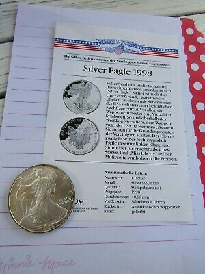 American Silber Eagle 1998 - 1oz 999 Fine Silver - One Dollar - Liberty - USA