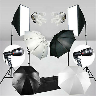 Photography Studio Strobe Flash Lighting Softbox Light Stand Soft Box Umbrella