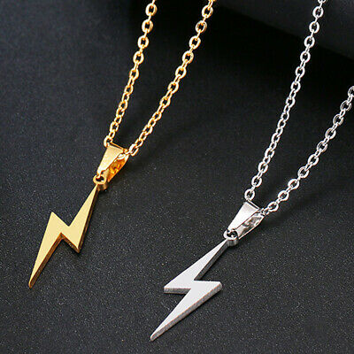 Lightning Bolt Necklace Chain Silver Gold Thunder Pendant Chain Necklaces Collar