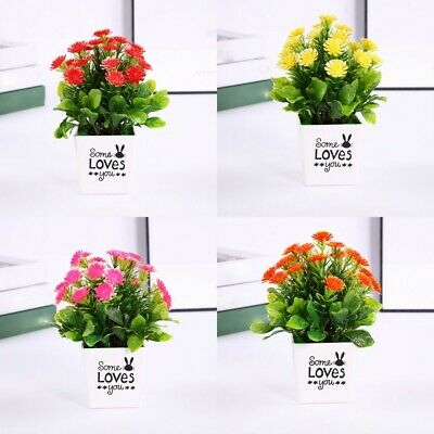 Simulation Artifical Fake Chrysanthemum Flower Plant Potted Home Office Decor