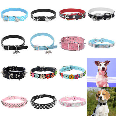 Adjustable Small Pet Dog PU Leather Collar Puppy Cat Buckle Neck Strap Pet UK