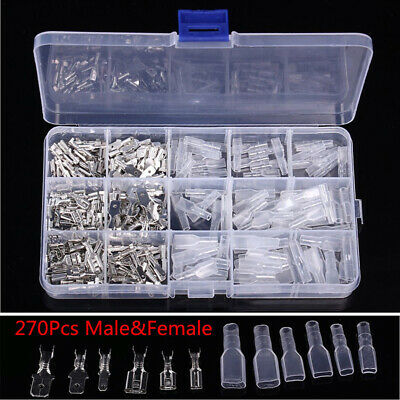 270Pcs Assorted Insulated Electrical Wire Terminal Crimp Connector Spade Set Kit
