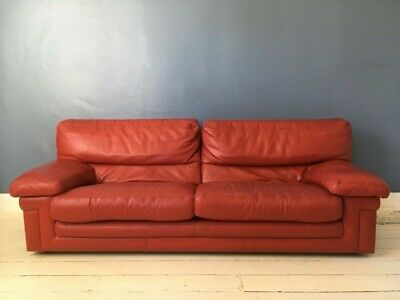 Roche Bobois Designer Red Leather Sofa Bed / Sofabed Timeless Piece