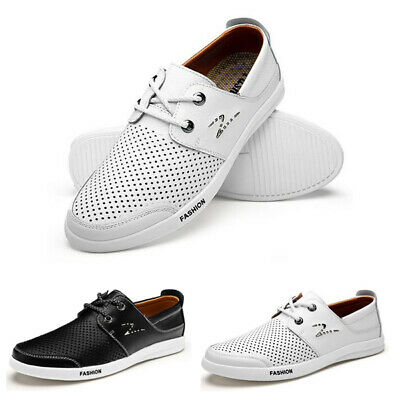 British Mens Casual Leather Shoes Lace-up Sneakers Oxford Breathable Loafers New