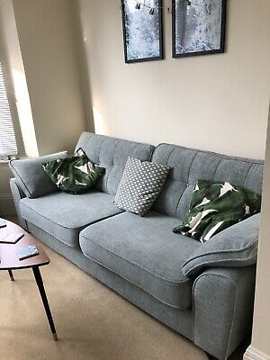4 Seater Sofa Wide Seat Duck Egg Blue Scandi Style DFS Silsden Perfect Condition