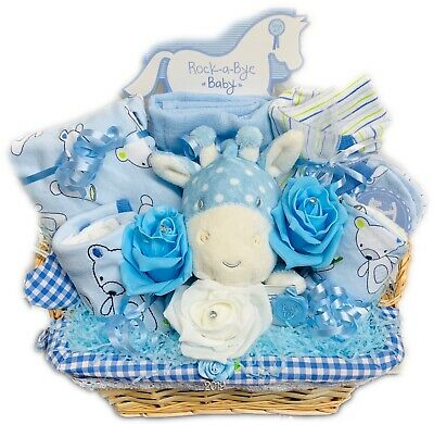 Baby Boy Rock A Bye Baby Gift Basket Maternity Leave Baby Shower Hamper 3-6mnth