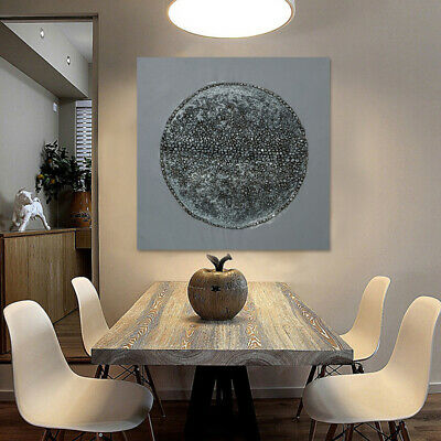 Modern Oil Painting Hand Painted On Canvas Wall Art Decor Framed Silver Circle