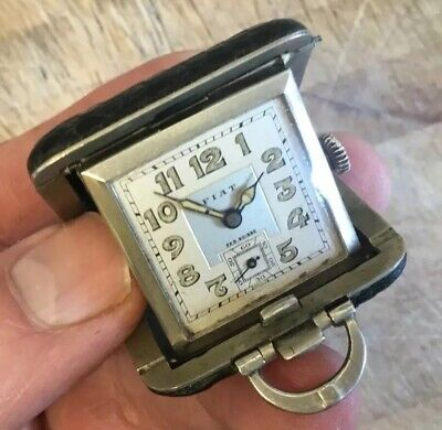 ANTIQUE VINTAGE FIAT FAB SUISSE PURSE WATCH MINIATURE TRAVEL POCKET CLOCK c1930s