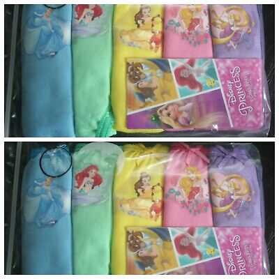 Girls DISNEY PRINCESSES Cotton Briefs/Knickers x 10 Pairs NEW Sizes 5-7 Years