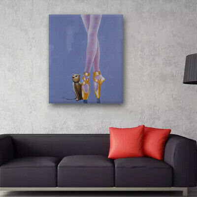 Modern Abstract Hand Painted Art Oil Painting On Canvas - Ballet Dancer Framed