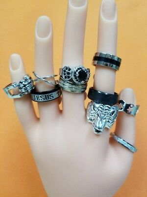 LOT of 10 Rings Vintage Costume Jewelry Cocktail Modern Old New 10pc Gothic Punk