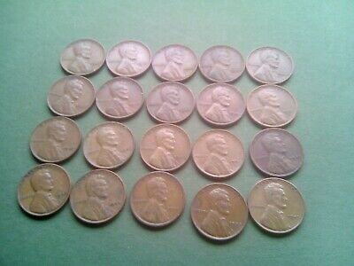 Coins Bulk Lot Usa 20 Wheat Pennies.