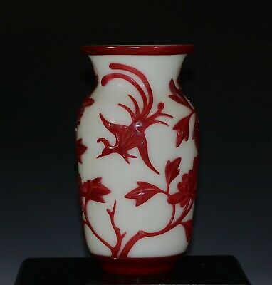 Late 19th or early 20th Chinese peking glass vase, peonies motif 1042F