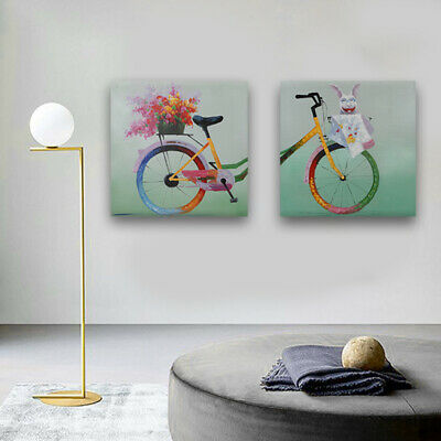 Hand Painted Bicycle Oil Painting Canvas Modern Wall Decor Art Framed 2 Panel